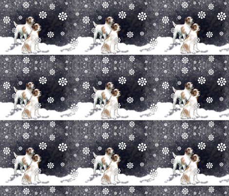 Jack Russell Fabric: A Snowy Day fabric by dogdaze_ on Spoonflower - custom fabric