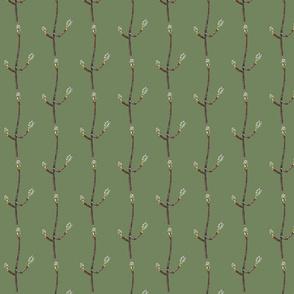Maple Tree Buds on medium green