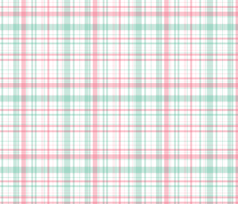 Ride a bike coordinating check in mint and pink fabric by me-udesign on Spoonflower - custom fabric