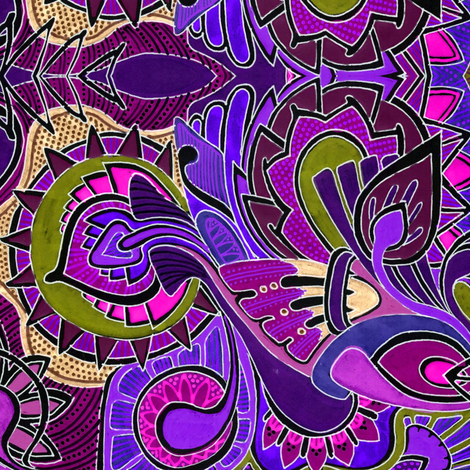Grandmother's psychedelic 1970's Kitchen (marroon) fabric by edsel2084 on Spoonflower - custom fabric