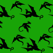 Dragons in Flight on Green