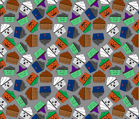 Halloween Cupcakes : Grey fabric by modgeek on Spoonflower - custom fabric