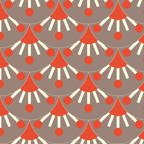 Scales - grey & coral fabric by kayajoy on Spoonflower - custom fabric