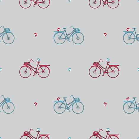 bikes and birds fabric by deesignor on Spoonflower - custom fabric
