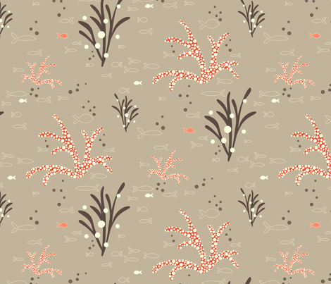 Coral & Kelp - dove fabric by kayajoy on Spoonflower - custom fabric