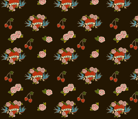 Tattoo Love Black fabric by jenimp on Spoonflower - custom fabric