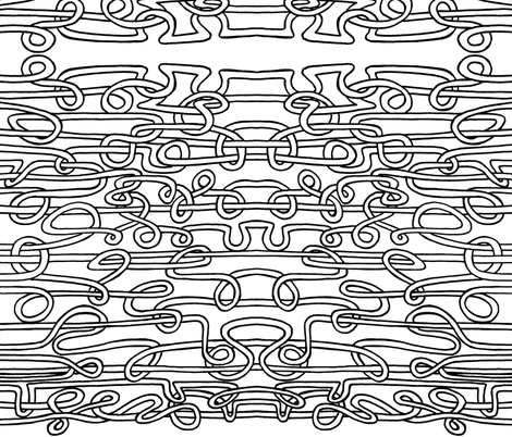 spaghetti threads black fabric by littlemissquarter on Spoonflower - custom fabric