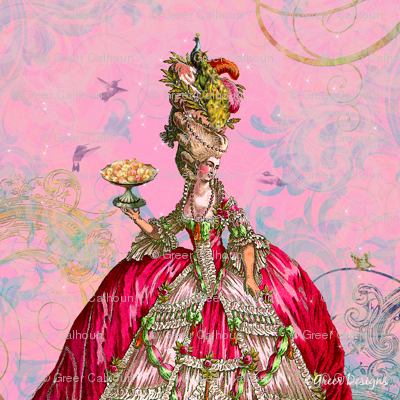 Marie Antoinette and Cakes Pillow Panel