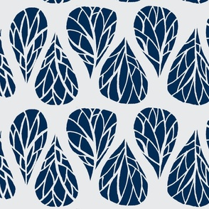 navy and grey tear drop branches