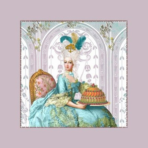 Marie Antoinette Cake Pillow Panel Mauve