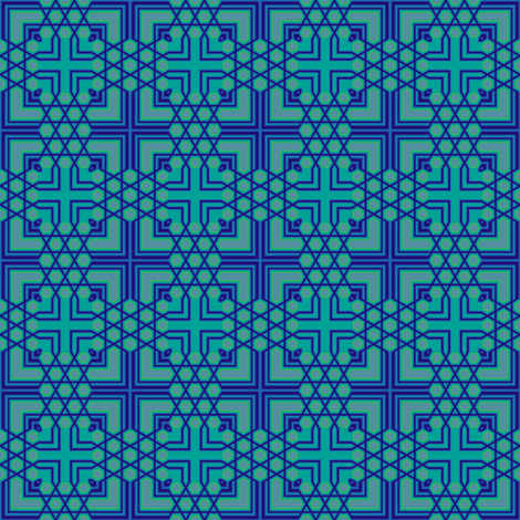 Blue Green Geometric Cross Tile © Gingezel™ 2011 fabric by gingezel on Spoonflower - custom fabric