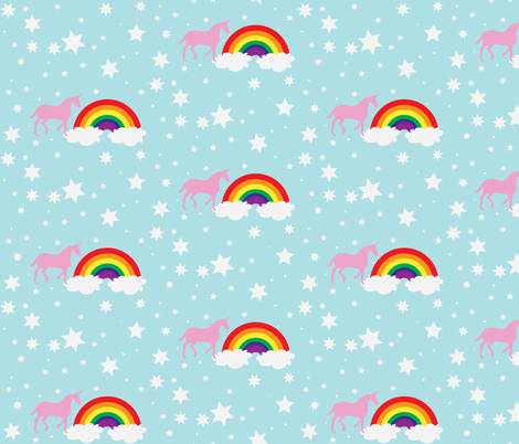 Unicorn in Summer Breeze fabric by dolphinandcondor on Spoonflower - custom fabric