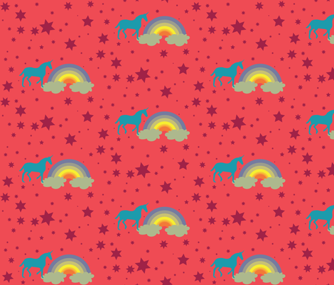 Unicorn in Raspberry Sorbet  fabric by dolphinandcondor on Spoonflower - custom fabric