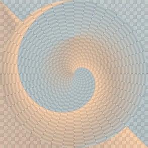 Seamless Aqua and Tan Spirals