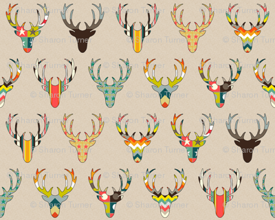 RETRO DEER HEAD ON LINEN