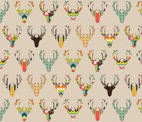 RETRO DEER HEAD ON LINEN fabric by scrummy on Spoonflower - custom fabric