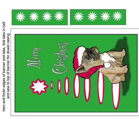 Frenchie Christmas Banner Fabric fabric by dogdaze_ on Spoonflower - custom fabric