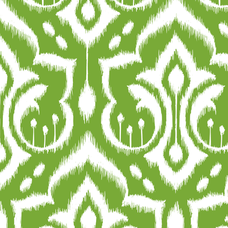 Ikat Damask - Mistletoe Green fabric by pattysloniger on Spoonflower - custom fabric