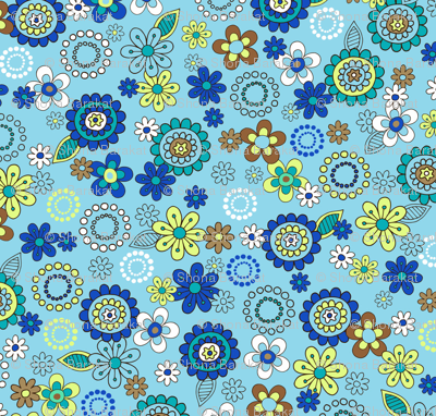 Blue retro vintage flowers on blue