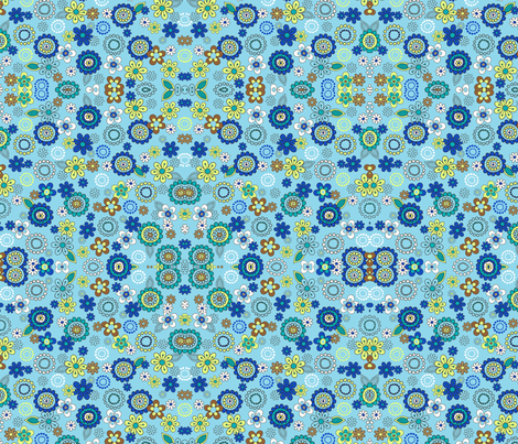 Blue retro vintage flowers on blue  fabric by barakatblessings on Spoonflower - custom fabric