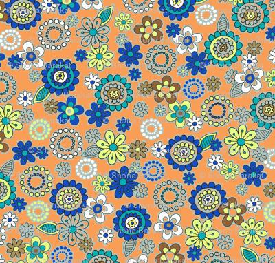 blue flowers on light orange