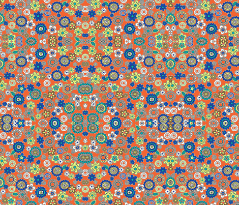 flowers on bright orange fabric by barakatblessings on Spoonflower - custom fabric
