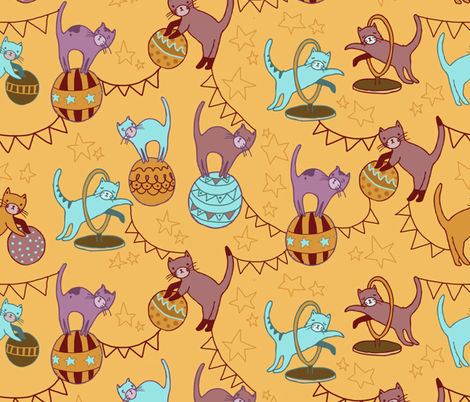 cat circus fabric by youngcaptive on Spoonflower - custom fabric