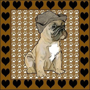 French Bulldog Fabric With Hearts