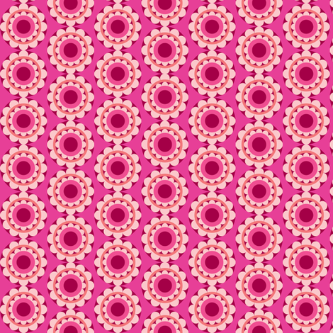 retroflower-darkpink fabric by lilliblomma on Spoonflower - custom fabric