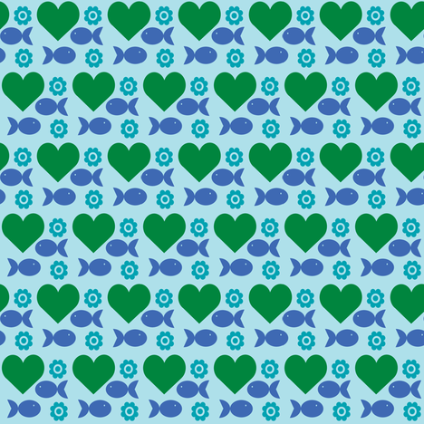 heartfishflower-blue fabric by lilliblomma on Spoonflower - custom fabric