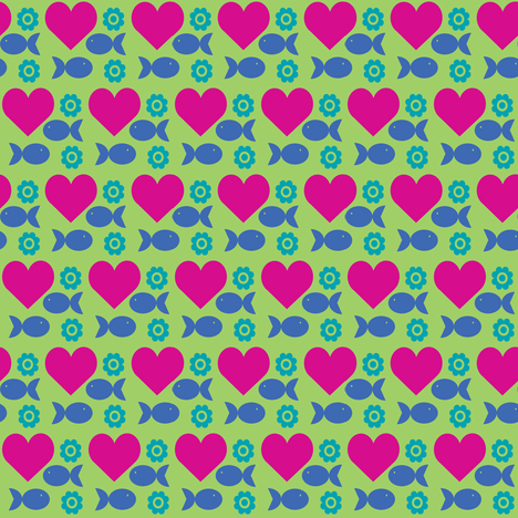 heartfishflower-green fabric by lilliblomma on Spoonflower - custom fabric