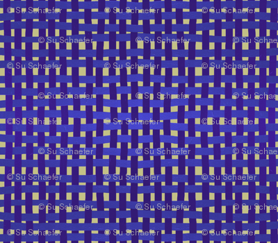 LARGE Woven purple, blue and indigo on a pale gold ground