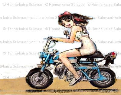 PV Suzuki Honda Monkey moped girl with cross in her hand
