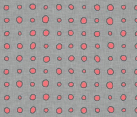 raining_coral_linen_gray fabric by holli_zollinger on Spoonflower - custom fabric