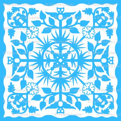 Hawaiian style cheater quilt 33bbff