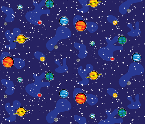 Our solar system robyriker spoonflower for Fabric planets solar system