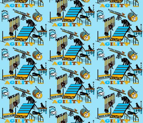 AGILITY aqua background fabric by dogdaze_ on Spoonflower - custom fabric