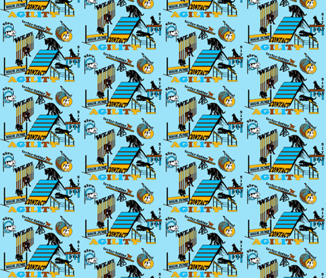 AGILITY aqua background fabric by dogdaze_ on Spoonflower - custom fabric
