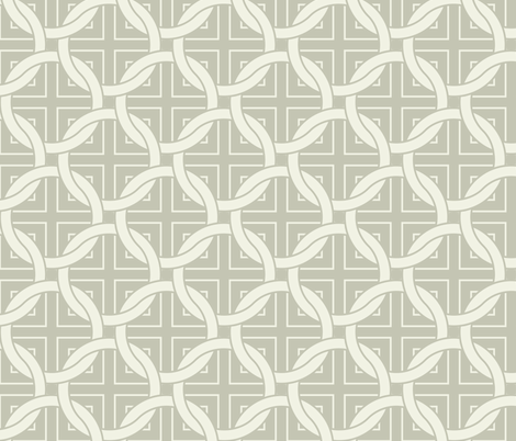 Interlocking circles - white on gray fabric by ravynka on Spoonflower - custom fabric