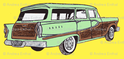 Light Green1958 Edsel Bermuda on yellow background
