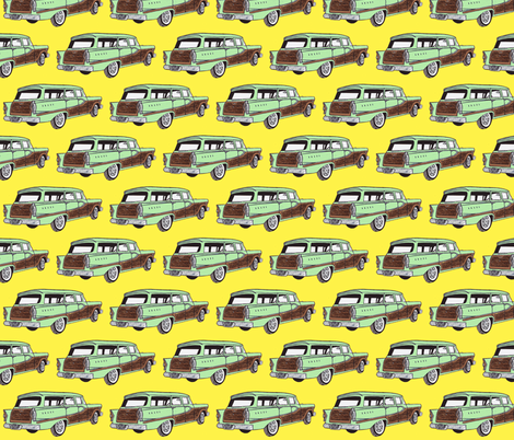 Light Green1958 Edsel Bermuda on yellow background fabric by edsel2084 on Spoonflower - custom fabric