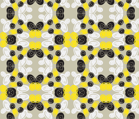Spiral Butterfly in Black and Yellow fabric by bluenini on Spoonflower - custom fabric