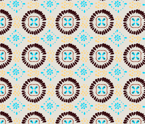 Mexican Tiles Print in White fabric by prettypenny on Spoonflower - custom fabric