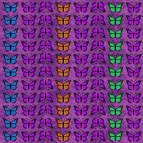 Monarch Butterflies on Purple Granite Pattern