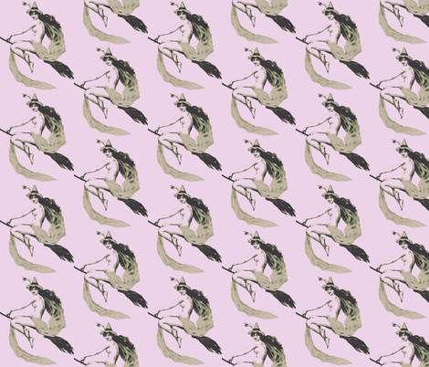 victorian witch greys on lavender fabric by olivemlou on Spoonflower - custom fabric
