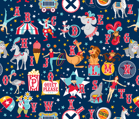 Circus Alphabet fabric by cjldesigns on Spoonflower - custom fabric