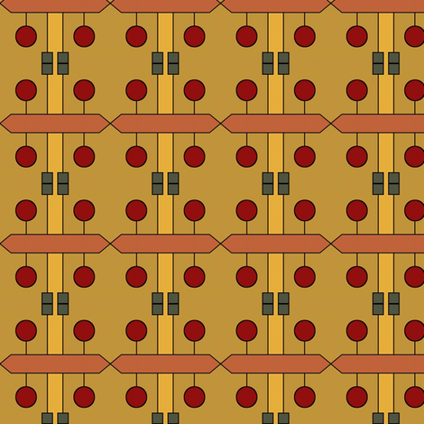 Teak Puzzle (Saffron) fabric by david_kent_collections on Spoonflower - custom fabric