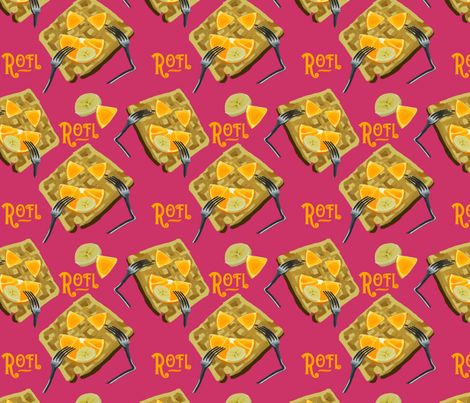 ROFL Waffle PINK fabric by terridee on Spoonflower - custom fabric