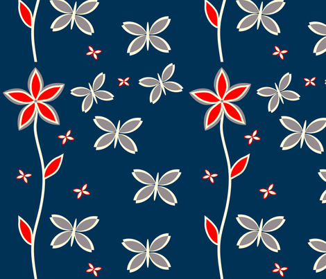 BLUE_RED_BUTTERFLY_FLOWER fabric by wendyg on Spoonflower - custom fabric