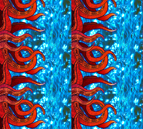 Tentacle Border 2 fabric by jadegordon on Spoonflower - custom fabric